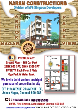 2 BHK Apartment FOR sale in ASHOK NAGAR Rate per sft Rs.11,111/- CMDA approved